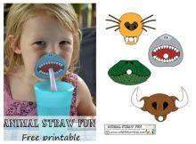 Pajitas en formas de animales para cumpleaños infantiles